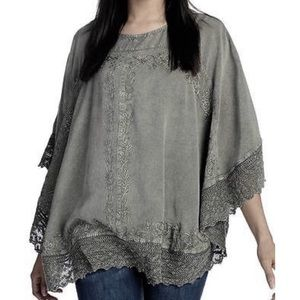 Indigo Thread Co Poncho Gray Crochet Trim 1X Plus